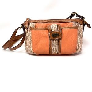 b.o.c. Crossbody Peach Brown Straw Purse